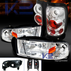 94 01 Dodge Ram 1500 2500 3500 Chrome Headlights clear Rear Tail Lamps