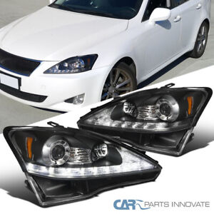 Fit 06 09 Lexus Is250 Is350 Replacement Black Smd Led Strip Projector Headlights