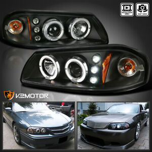 Black 2000 2005 Chevy Impala Dual Halo Led Projector Headlights Left right