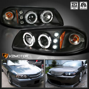 For Black 2000 2005 Chevy Impala Dual Halo Led Projector Headlights Left Right
