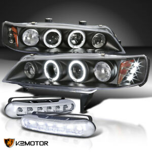 For 94 97 Accord Halo Led Projector Black Headlights White Led Fog Lamp