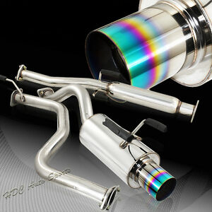 For 1996 2000 Honda Civic Hatchback 4 Rainbow Burnt Tip T 304 Catback Exhaust