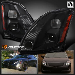 For 2004 2006 Maxima Jdm Black Replacement Projector Headlights Left right