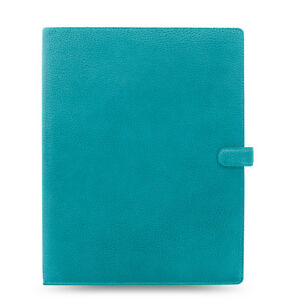 Filofax A4 Finsbury Aqua Thick Genuine Leather Organiser