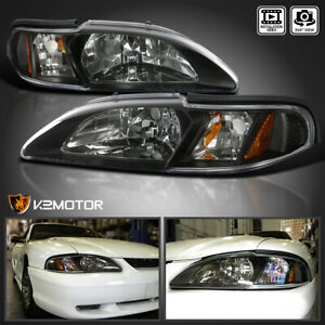 For 1994 1998 Ford Mustang 1pc Style Black Replacement Headlights Signal Lamps