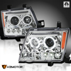 For 2005 2012 Nissan Xterra Clear Led Drl Halo Projector Headlights Lamps Pair