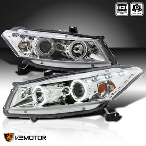 For 2008 2012 Honda Accord 2dr Coupe Led Halo Projector Headlights L r 08 12