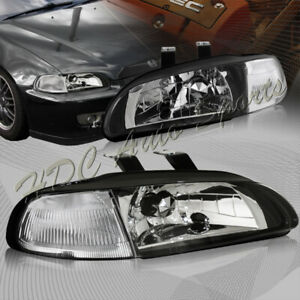 For 1992 1995 Honda Civic Hatchback coupe Jdm Black Headlights W clear Reflector