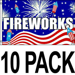 10 Pack 3x5 Ft Business Advertising Sign Banner Concession Flag Fireworks Bf