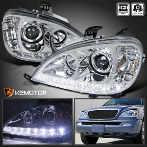 For 1998 2001 Mercedes Benz W163 Ml320 Ml430 Led Drl Clear Projector Headlights