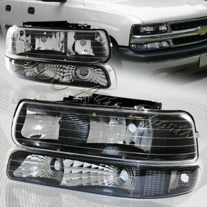 For 2000 2006 Chevy Tahoe Black Housing Headlights bumper Clear Reflector Lamps