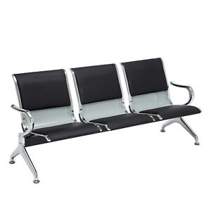 New Heavy Duty Waiting Chair Office Salon Steel Airport Reception 3 seat Bench