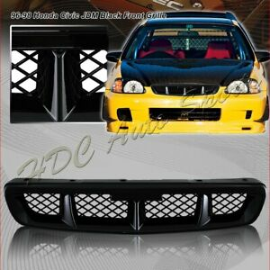 For 1996 1998 Honda Civic Mug Style Abs Black Front Hood Bumper Grille Grill