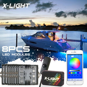 Weatherproof 8pc Led Pods For Boat Interior Deck Lighting Kit Ip67 Silicone Made