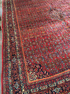 9x11 Superb Antique Persian Bidjar Rug C 1930 Fine Ruby Red Bijar Room Size Rug