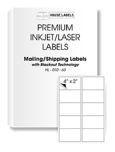 200 Sheets 2000 Labels Blackout Technology Fast Peel Shipping 4 X 2 10 Up