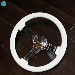 Viilante 2 Deep 6 hole White Steering Wheel Chrome Spoke Wood Fits Nrg Hub