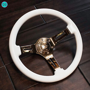 Viilante 2 Dish 6 Hole Slotted Gold Chrome Gloss White Steering Wheel Fits Nrg