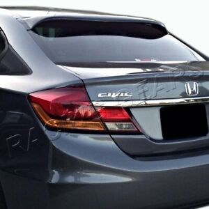 For Honda Civic Sedan 4 Dr Black Abs Plastic Rear Window Roof Visor Spoiler Wing