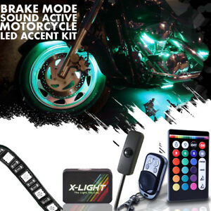 6pc 18 Color Motorcycle Led Flexible Strip Kit Neon Accent Glow Frame Music