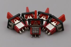 20pcs Red T80 r Momentary on off on 3pin Spdt Mini Paddle Toggle Switch