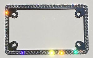 1 Row Motorcycle Crystal Rhinestone License Plate Frame With Swarovski Crystals