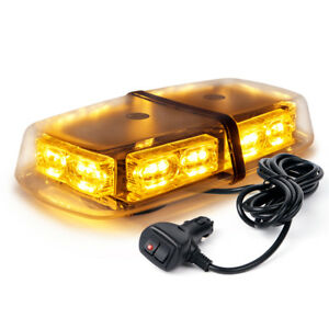 Xprite Amber Yellow Roof Top Flashing Emergency Warning Strobe Lights Bar 36 Led