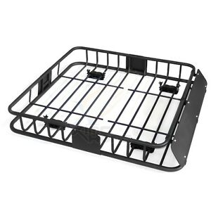 43 Universal Black Roof Rack Cargo Carrier W Luggage Hold Basket Suv