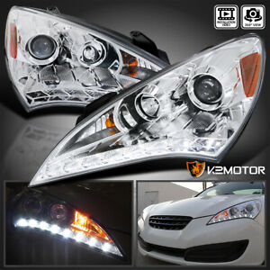 For 2010 2012 Hyundai Genesis 2dr Coupe Led Strip Clear Projector Headlights L R