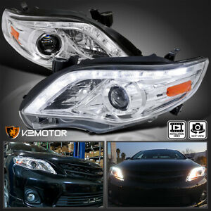 For 2011 2013 Toyota Corolla Crystal Clear Led Strip Projector Headlights Pair