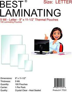 Best Brand 5 Mil Clear Letter Size Thermal Laminating Pouches 9 X 11 5 Qty 300