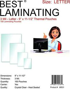 Best Laminating 3 Mil Letter Thermal Pouches 9 X 11 5 1 000 Pouches Total