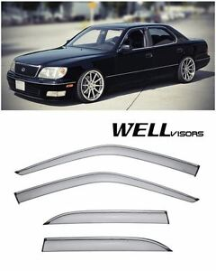 For 95 00 Lexus Ls400 Wellvisors Side Window Visors W Chrome Trim