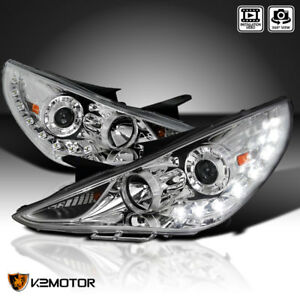 For 2011 2014 Hyundai Sonata Clear Smd Led Drl Strip Projector Headlights Lamps