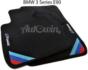 Bmw 3 Series E90 E90lci Black Floor Mats With m Power Emblem Lhd With Clips