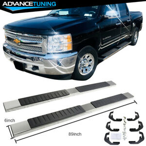 For 07 17 Chevy Silverado Sierra 1500 Crew Cab 6inch Nerf Bar Running Board Pair