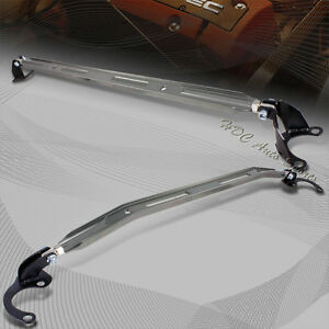 For 1990 2001 Acura Integra Gun Metal Aluminum Upper Front rear Strut Bar 2pcs