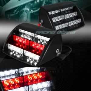 18 Led White Red Car Emergency Warning Dashboard Interior Flash Strobe Light