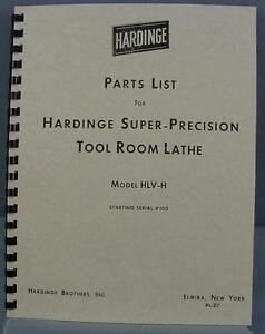 Hardinge Hlv h Tool Room Lathe Parts Manual