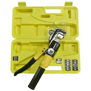 10 Ton Hydraulic Cable Crimper 9 Dies Carrying Case Professional Grade Tool