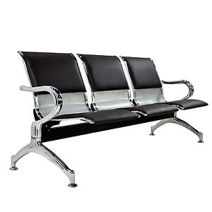 3 Seat Bench Heavy Duty Airport Waiting Room Chair With Brown Pu Leather Cushion