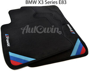 Bmw X3 Series E83 E83lci Black Floor Mats With m Power Emblem Side Clips Lhd