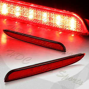 For 2010 2013 Mazda 3 Red Lens Red Led Rear Bumper Reflector Brake Light Lamps