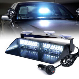 Xprite White 16 Led Windshield Dash Strobe Light Mini Bar Emergency Warning 12v