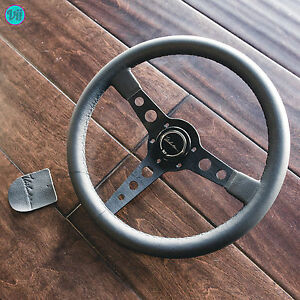 Steering Wheel Genuine Leather Black Stitch Viilante Corsa 350mm Fits Sparco Hub