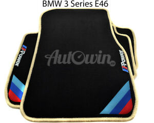 Bmw 3 Series E46 Black Floor Mats Beige Rounds With m Power Emblem