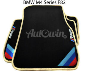 Bmw M4 Series F82 Black Floor Mats Beige Rounds With m Power Emblem