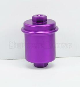 Purple Universal Inline Fuel Filter Highflow 100 Micron Cleanable Stainelss Mesh