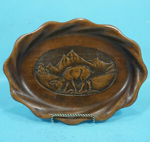 Antique Black Forest Swiss Wood Carving Plate Chamois Hans Schild Brienz 1949