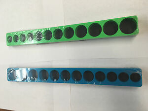 Mechanic Time Saver S38xx 12 Hole Socket Holder Organizer 3 8 Drive Green Blue